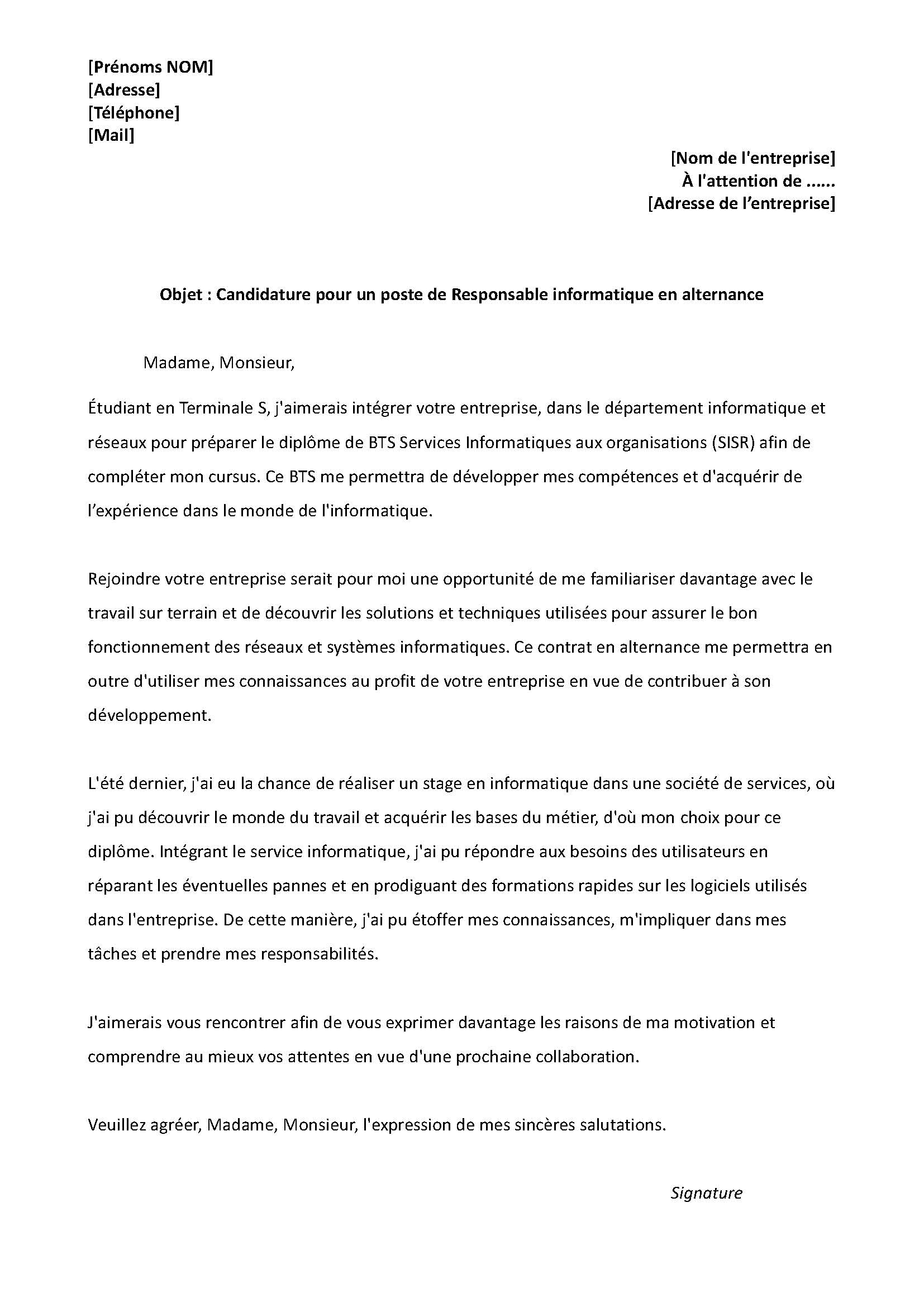 mod u00e8le lettre de motivation - responsable informatique en alternance